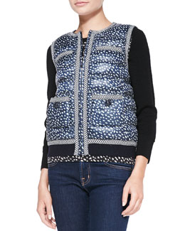 Tory Burch Macey Printed Knit-Trim Puffer Vest