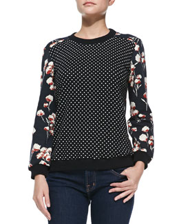 Tory Burch Ronnie Dotted/Floral-Print Pullover
