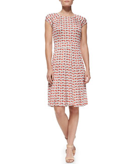 Tory Burch Sophia Cap-Sleeve Calyx Floral-Print Dress
