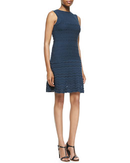 M. Missoni Sleeveless Solid Lace-Knit Dress
