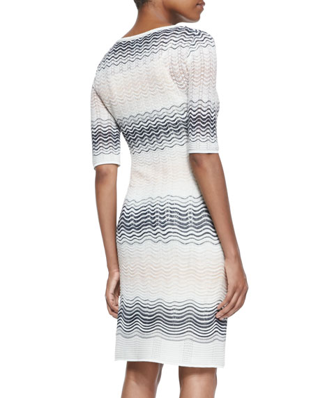 1/2-Sleeve Ripple-Stitch Dress