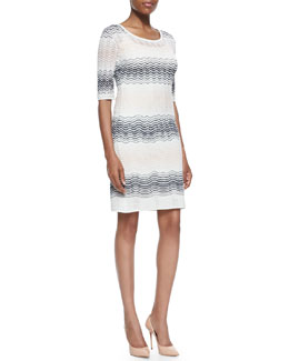 M. Missoni 1/2-Sleeve Ripple-Stitch Dress