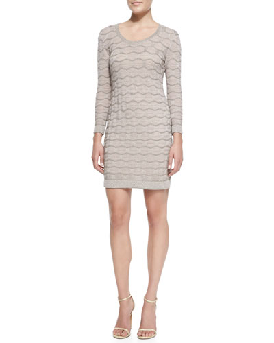 M. Missoni Metallic Bubble-Stitch Long-Sleeve Dress