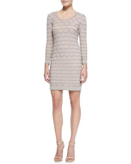 Metallic Bubble-Stitch Long-Sleeve Dress