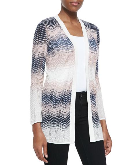 Colorblocked Ripple-Knit Cardigan
