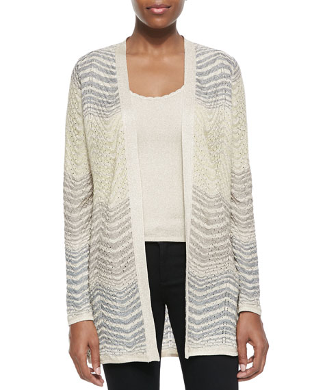 Open-Front Ripple-Knit Cardigan
