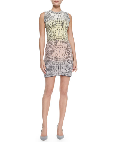 Crocodile Jacquard Sheath Dress