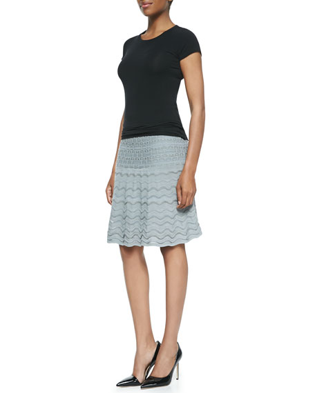 Ripple-Knit Scalloped-Hem Skirt