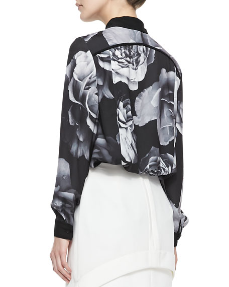 Get Home Pintuck Floral-Print Blouse