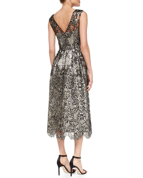 Kay Unger New York Sleeveless Lace Tea-Length Cocktail Dress