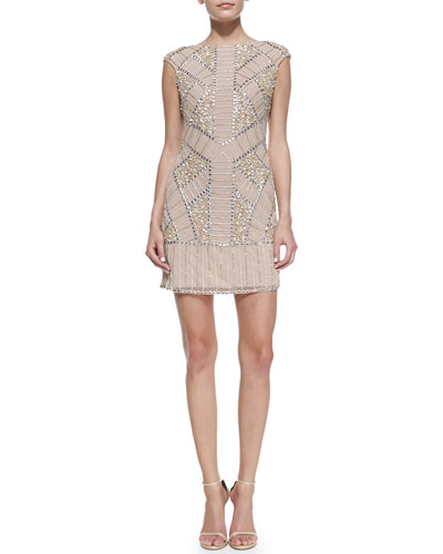Phoebe Couture Cap-Sleeve Beaded & Sequined Cocktail Dress