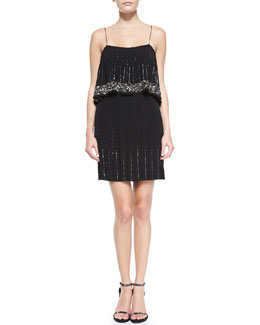 Phoebe Couture Two-Tiered Beaded Cocktail Dress