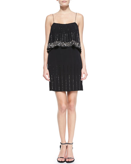 Two-Tiered Beaded Cocktail Dress