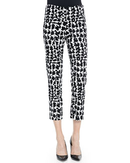 Neiman Marcus Stretch-Twill Printed Pants