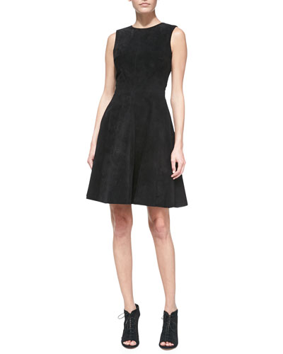 Monique Lhuillier Suede Sleeveless Full-Skirt Dress