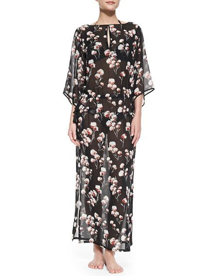 Solaro Floral-Print Silk Caftan
