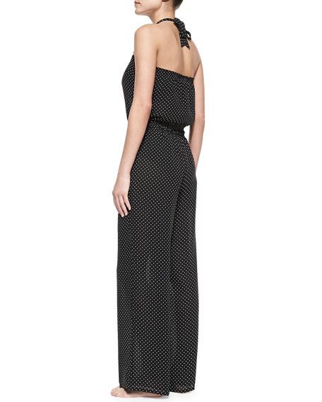 Milos Silk Polka-Dot Jumpsuit Coverup