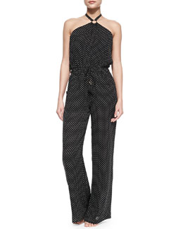 Tory Burch Milos Silk Polka-Dot Jumpsuit Coverup