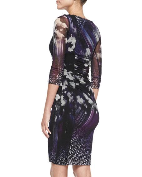 3/4-Sleeve Floral Ruched Dress, Viola
