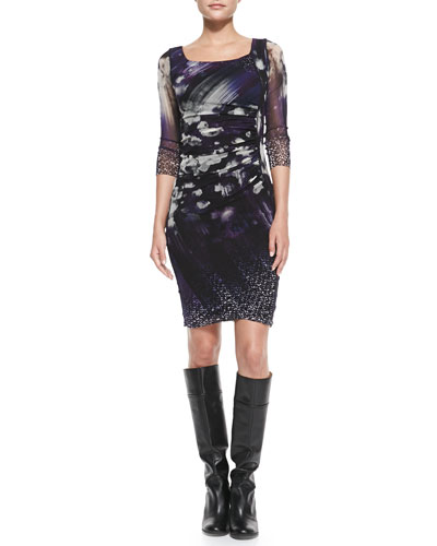 Fuzzi 3/4-Sleeve Floral Ruched Dress, Viola