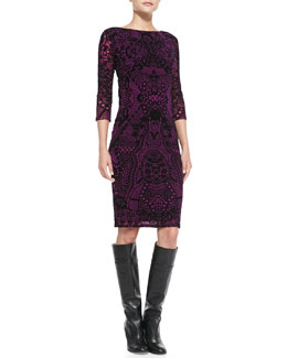 Fuzzi 3/4-Sleeve Flocked Dress, Azalea