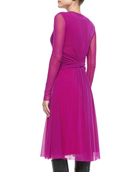 Long-Sleeve Belted Dress, Azalea
