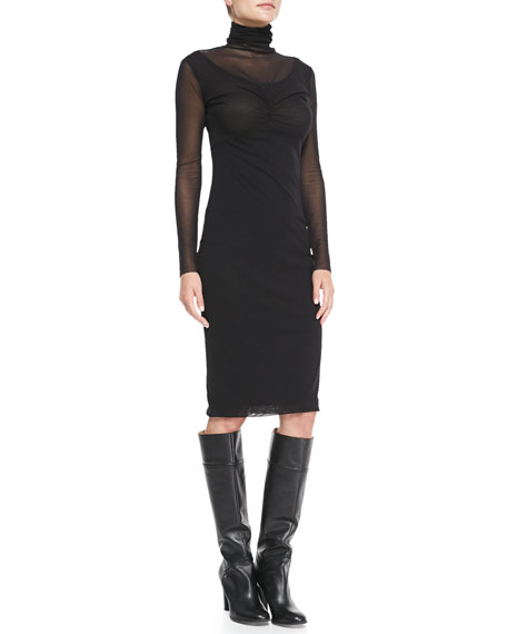 Long-Sleeve Modern Mesh Sheath Dress