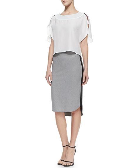 Devon Two-Tone Knit Pencil Skirt