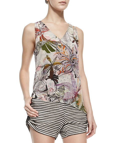 Barbie Sleeveless Print-Front Top