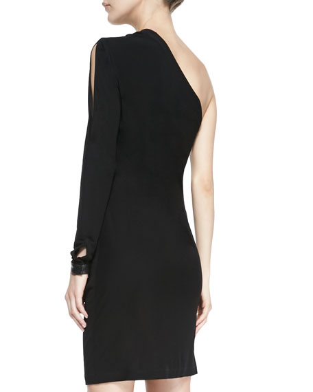 One-Shoulder Ponte/Leather Zip Dress