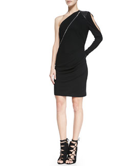 Cut25 by Yigal Azrouel One-Shoulder Ponte/Leather Zip Dress