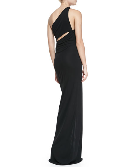 One-Shoulder Colorblock Jersey Gown