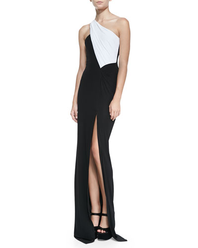 Cut25 by Yigal Azrouel One-Shoulder Colorblock Jersey Gown
