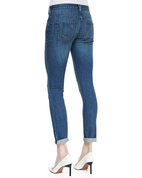 Audrey Mid-Rise Boyfriend Jeans, Medium Blue