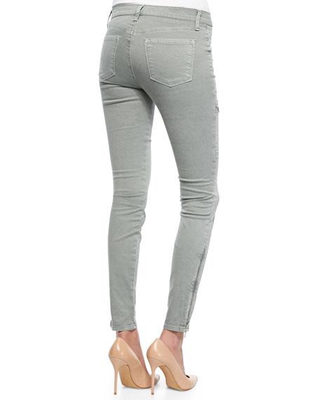 Kassidy Vintage Olive Zipper-Detail Skinny-Leg Jeans