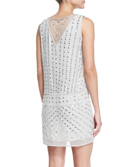 Sleeveless Beaded Drop-Waist Cocktail Dress