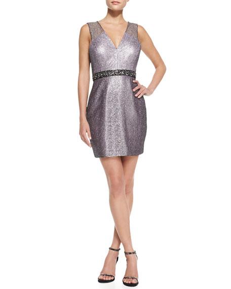 Sleeveless Beaded-Waist Cocktail Dress