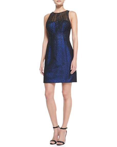 Sleeveless Illusion-Neck Glitter Cocktail Dress