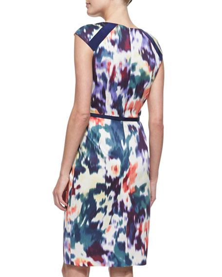 Printed & Belted Cap-Sleeve Sheath Dress