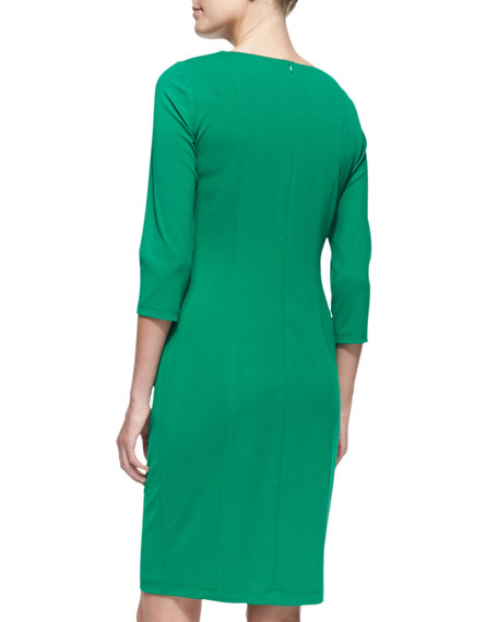 3/4-Sleeve Crepe Sheath Dress, Emerald