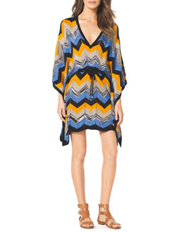 MICHAEL Michael Kors  Drawstring Printed Poncho Dress