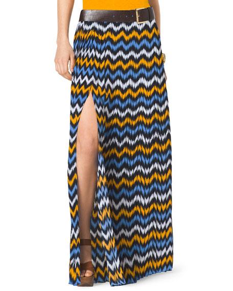 Printed Jersey Slit Maxi Skirt