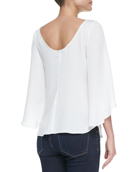 Butterfly Sleeve Boat-Neck Top