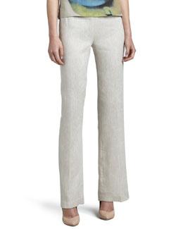 Caroline Rose Tissue Linen Straight-Leg Pants, Petite