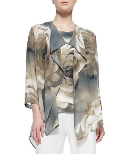 Caroline Rose Draped Watercolor Rose-Print Jacket, Women's