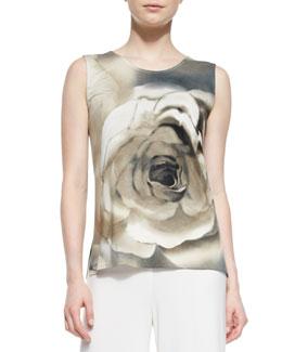Caroline Rose Watercolor Rose Tank, Women's