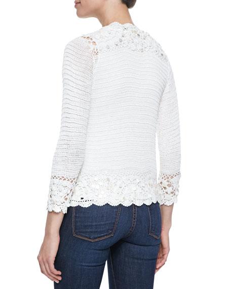 Crochet Satin-Tie Cardigan