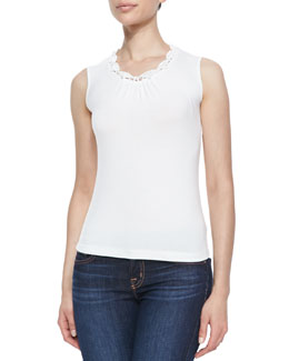 Michael Simon Crochet-Trim Tank