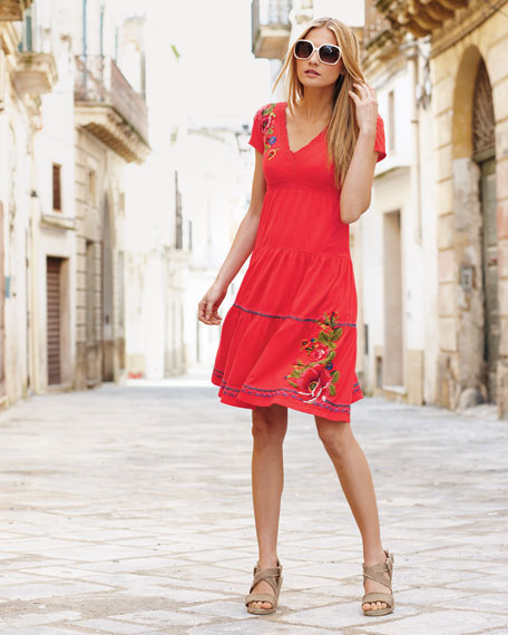 Flora Tiered & Embroidered Dress