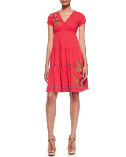 Johnny Was Collection Flora Tiered & Embroidered Dress